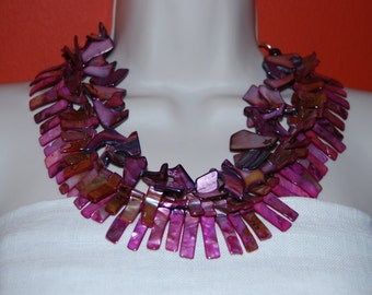 Statement Necklace Multi Strand Mother of Pearl and Shell Bead Necklace Chunky Orchid Purple Fuchsia