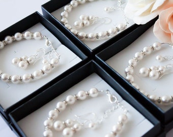 50% OFF SALE 5 Bridesmaids gifts-Pearl Jewelry sets with Bracelet and Earrings (15 COLORS Available)