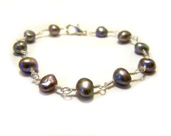 Iridescent Freshwater Pearl 14k White Gold Filled Wire Wrapped Bracelet / Gift for Her
