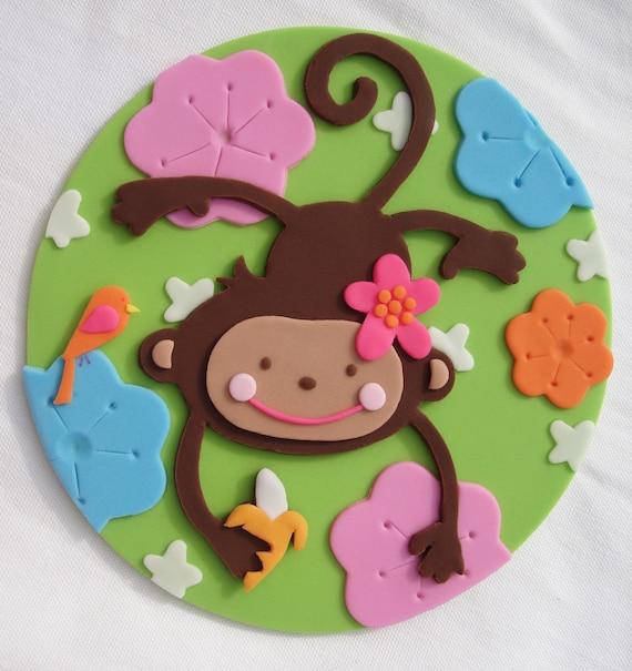 5 Monkey Love Fondant Cake Topper Pink Flower Mod Plaque
