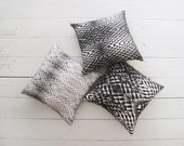 Black and White Pillows. Set of 3 ORIGAMI Pillows. Geometric Digital Print on Natural Fabric