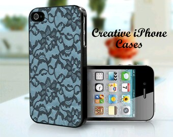 iPhone 4 Case Black Lace with Blue Background iPhone 4S Case