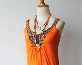 Bohemian Dress, Orange Dress, Beach Dress, Vintage