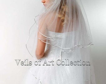 "2T Fingertip Bridal Wedding Veil 1/8"" Satin Cord & Swarovski Trim VE170 white, ivory NEW CUSTOM VEIL"