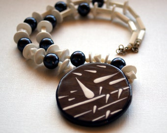 Avant Garde Necklace, White and Navy Blue Geometric Abstract Necklace