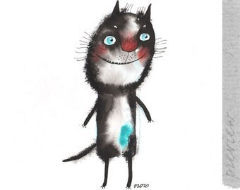 The blue spot cat , original painting by ozozo