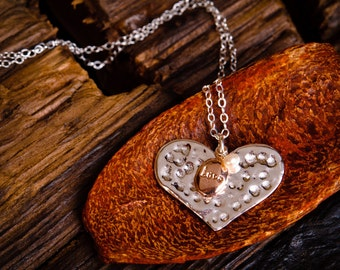 """Silver Heart Necklace - Hammered Sterling Silver Heart with Rose Gold """"Love"""" charm and White Pearl"""