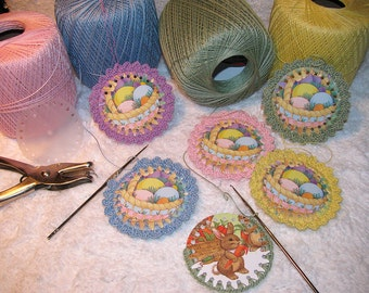 Crocheted Greeting Card Ornament Pattern PDF - Crochet Holiday Decoration - Crochet Pattern - DIY Crocheted Gift Tag - Crocheted Ornament