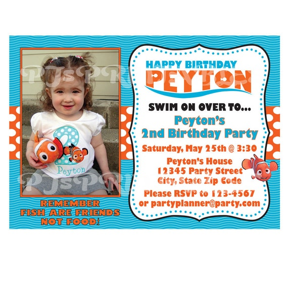 finding nemo birthday invitation custom digital file by, Birthday invitations