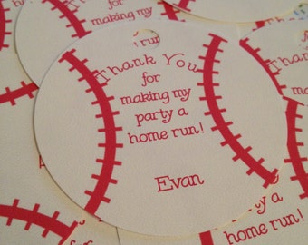 Baseball Customized Tags / Cupcake Toppers