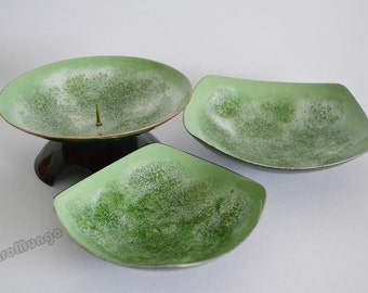 Set of 2 bowls and one candle holder in green colored enameled copper