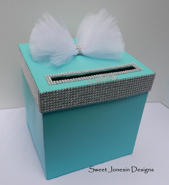 Tiffany Blue  Wedding Card Box Bling Mesh Ribbon Money Holder Advice Box Baby Shower Sweet Sixteen