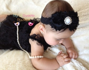 Black Vintage style Lace Petti Romper, black romper, black outfit, classic baby outfit, baby girl outfit, toddler outfit, photo outfit