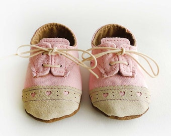 Baby Girl Shoes Baby Pink Canvas with Brogued Beige Leather Soft Sole Shoes Oxford Wingtips Wing tips