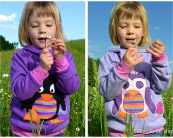 Twins children clothing, twin girls owl and penguin hoodie set , kids fall clothes, girl toddler, reversible, violet/ lilac / purple stripes