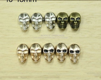 10pcs 10x15mm  PUNK Skull Rivet Studs,Heads Skeleton Rivets Buttons For DIY Finding Accessories,cloth Accessories,4 color options