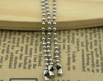 50pcs 28'' 2.4mm Bead Stainless Steel Ball Chain Necklace with Connectors,Lead Free Best For Scrabble Tiles, Dog Tag, Glass Pendant