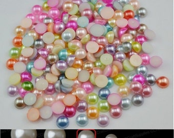 500pcs 8mm Half Round Faux Pearls ABS Resin Flatback For Cell Phone DIY/ Decoden/Scrapbooking/Nail Art/Jewelry/Supplies