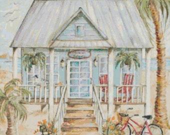 Lifes a Beach - Handmade Altered Art Beach House Cross-Stitch Pattern