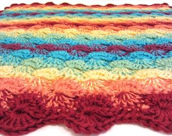 rainbow baby blanket - crochet baby blanket - handmade by RockinLola