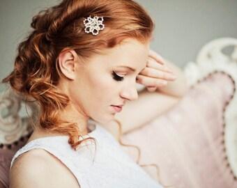 Flower Rhinestone Bridal Comb, Floral Rhinestone Comb, Bridal Wedding Hair Comb Rose, Jeweled Bridal Comb, rhinestone, comb