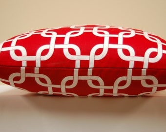 Premier Prints Red White Lattice Print Throw Pillow Cover, 18 Inch Accent Pillow, Invisible zipper closure