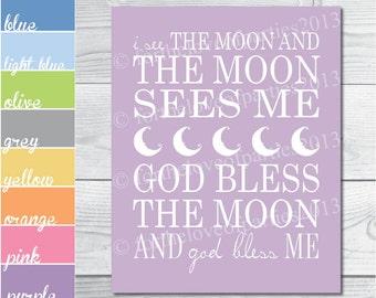 Nursery Digital Printable - I See The Moon - Additional Colors Available