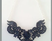 Navy Blue Dyed Lace Bib Statement Necklace - 18 inch