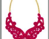 Raspberry Lace Bib Statement Necklace New Style - 16 inch