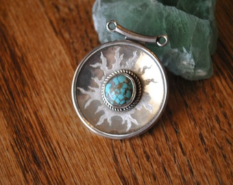 turquoise & sterling silver etched pendant