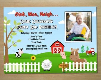 Barnyard Farm Birthday Invitation - Digital File (Printing Services Available)