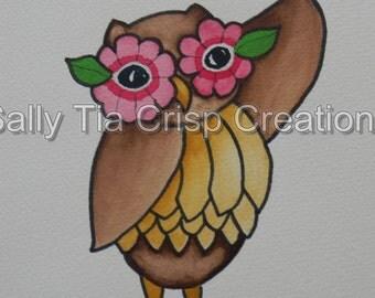Children's Nursery Art Owl Animal Art Print Whimsical  by SallyTia Crisp