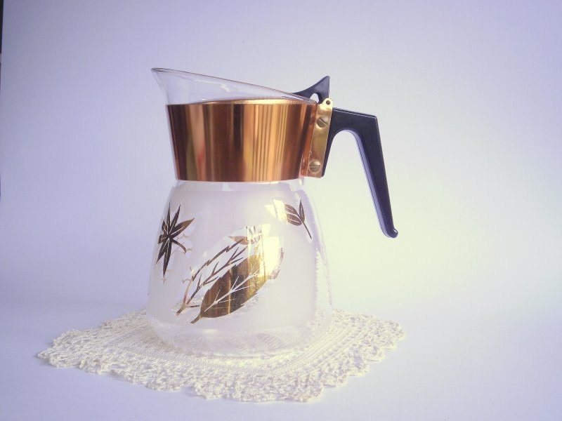 Mid Century Modern Vintage Glass Coffee Pot. Glass Drink