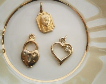 Three Vintage Pendant  Metallic Gold Color