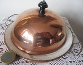 Antique victorian childs copper warming plate & domed cover