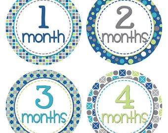 Baby Month Milestone Stickers Month by Month Stickers Newborn Monthly Sticker Boy Baby Shower Gift Baby Accessories Baby First Year BMST015