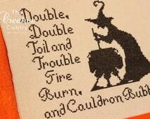 Halloween Witch Cross Stitch Pattern .PDF - Instant Download