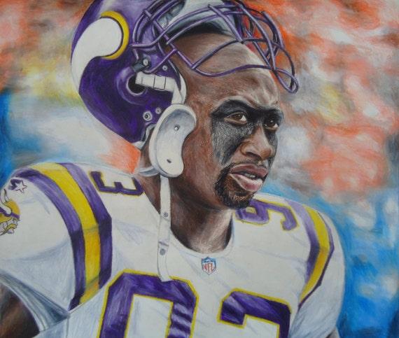 Original pencil drawing - John Randle - Minnesota Vikings - Home decor - Minnesota Vikings art - Sports art - Sports Portrait - Original art