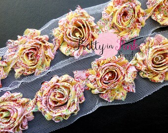 YELLOW PAISLEY Shabby Flowers- 1/2 Yard or 1 Yard- Shabby Chiffon Trim- Wholesale Shabby Flowers-- Shabby Rose Trim