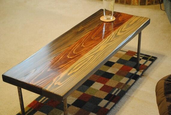 Metal Leg Coffee Table, Gray, Ebony, Red Oak Stain.