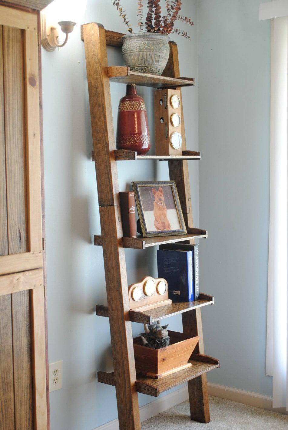 Pine Oak Ladder Bookshelf