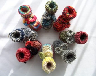 8 Mini knitted baby booties - baby favours - baby mobile - baby decorations - baby ornaments - tree decorations - baby accessories
