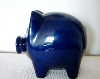 Vintage West German Pottery Cobalt Blue Piggy Bank / Lucky Clover on the Behind