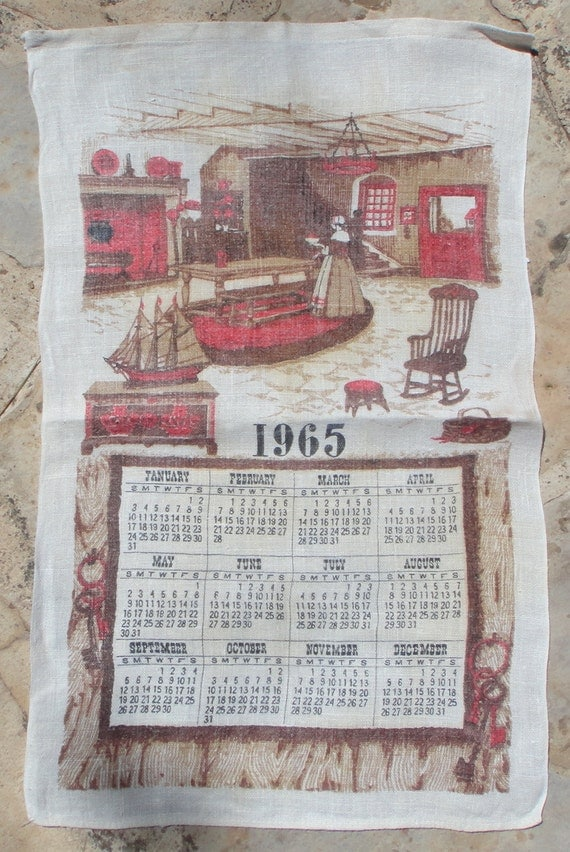 Vintage Kitchen Calendar Towel 1965  Pure Linen