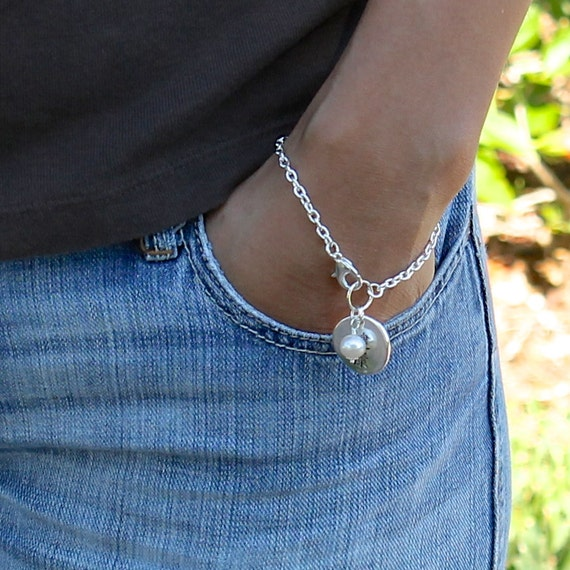 SILVER CHAIN Bracelet with Dangle CHARM - Wire Wrapped Freshwater Pearl / Health - Wealth - Hamsa Fatima Hand - Coin Choice Dangles