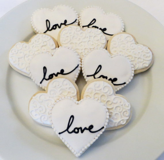 Items Similar To Heart Cookie Favors Decorated For A