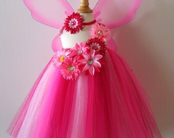 Girls pink tutu dress with flower spray, headband and wings - infant-girls 8