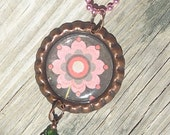 Pink Flower Blooming Bottle Cap Charm Necklace