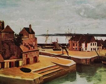"""Art on sale; Masterpiece """"Honfleur: Maisons Sur Les Quais"""" By Jean Baptiste Camille Corot. A 1950 vintage reproduction color art print"""
