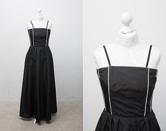 Black Evening Gown / 1980s Floor Length Black Vintage Gown with Corset /Dress on Straps / Size Large / Black Formal Gown / Long Black Dress